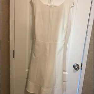 White sharagano dress